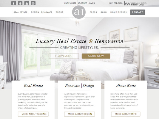 Adorned Homes web design