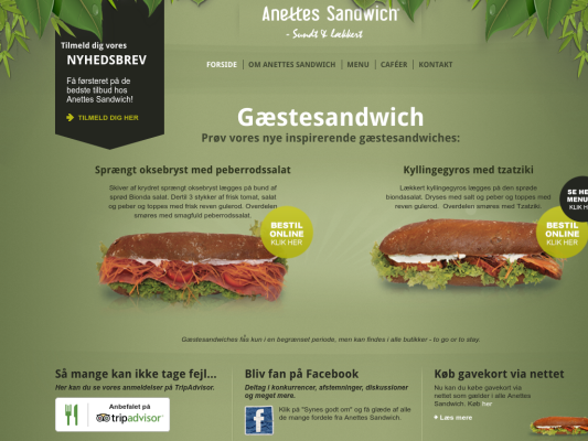 Anettes Sandwich web design