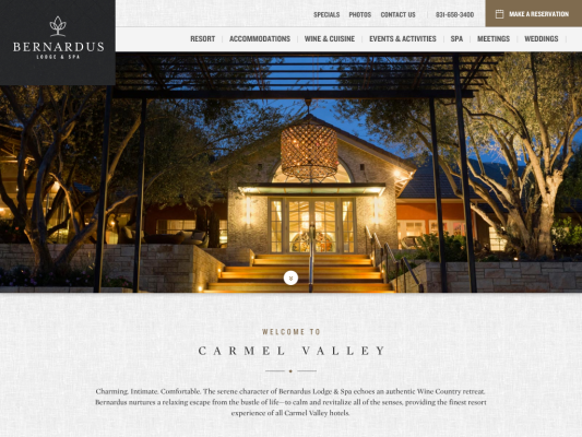 Bernardus Lodge web design