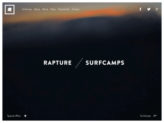 Rapture Surfcamps web design