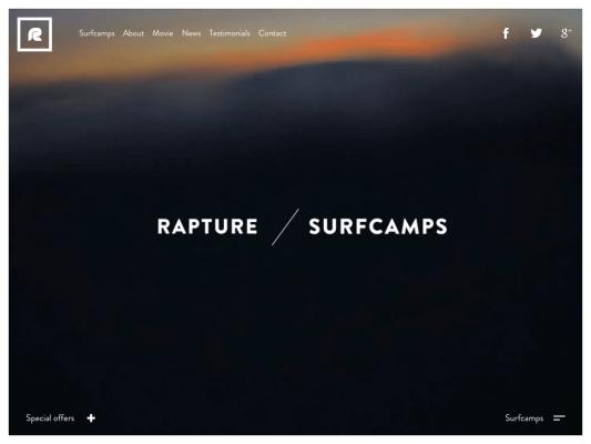 Rapture Surfcamps web design