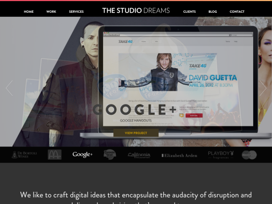 The Studio Dreams web design