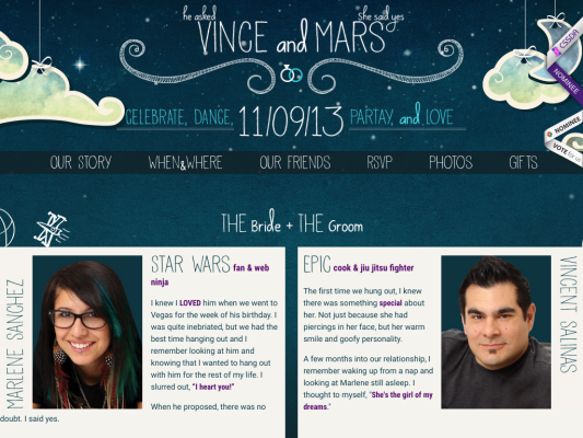 Vince and Marlene web design