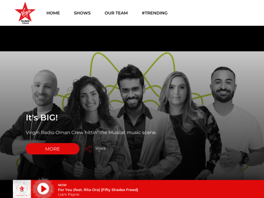 Virgin Radio Oman web design