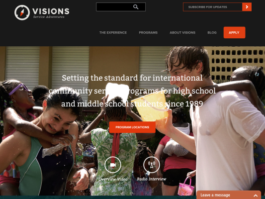 Visions Service Adventures web design